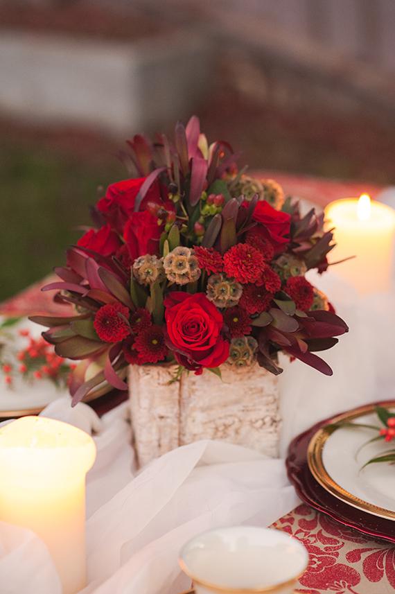 Boda en rojo pasión - Centro de mesa - Flores